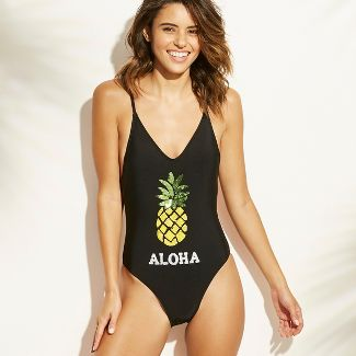 Women's Sequin Pineapple Scoop Back One Piece Swimsuit - Xhilaration™ Black M