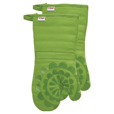 Green Medallion Silicone Oven 2 Pack Mitt (13 x13 )T-Fal