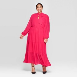 Women's Plus Size Long Sleeve Round Neck Romantic Maxi Dress - Who What Wear™