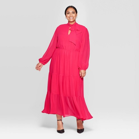 Women's Plus Size Long Sleeve Round Neck Romantic Maxi Dress - Who What Wear™ - image 1 of 3