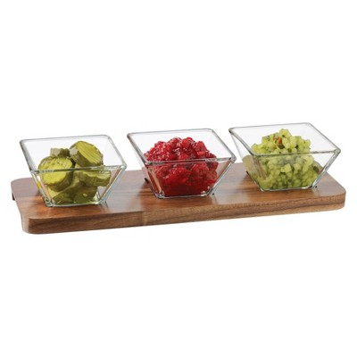 Libbey 4pc Square Acaciawood Condiment Set