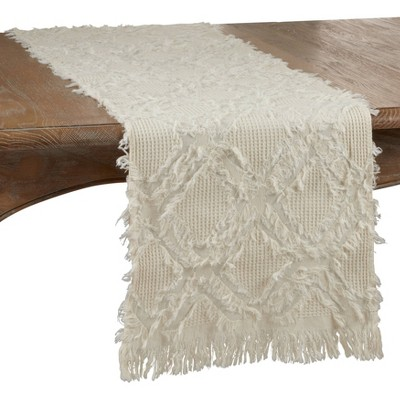 "72"" x 16"" Cotton Waffle Weave Fringed Table Runner White - Saro Lifestyle"