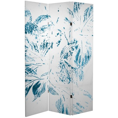 Oriental Furniture 6' Tall Double Sided Pure Leaves Canvas Room Divider Light Blue