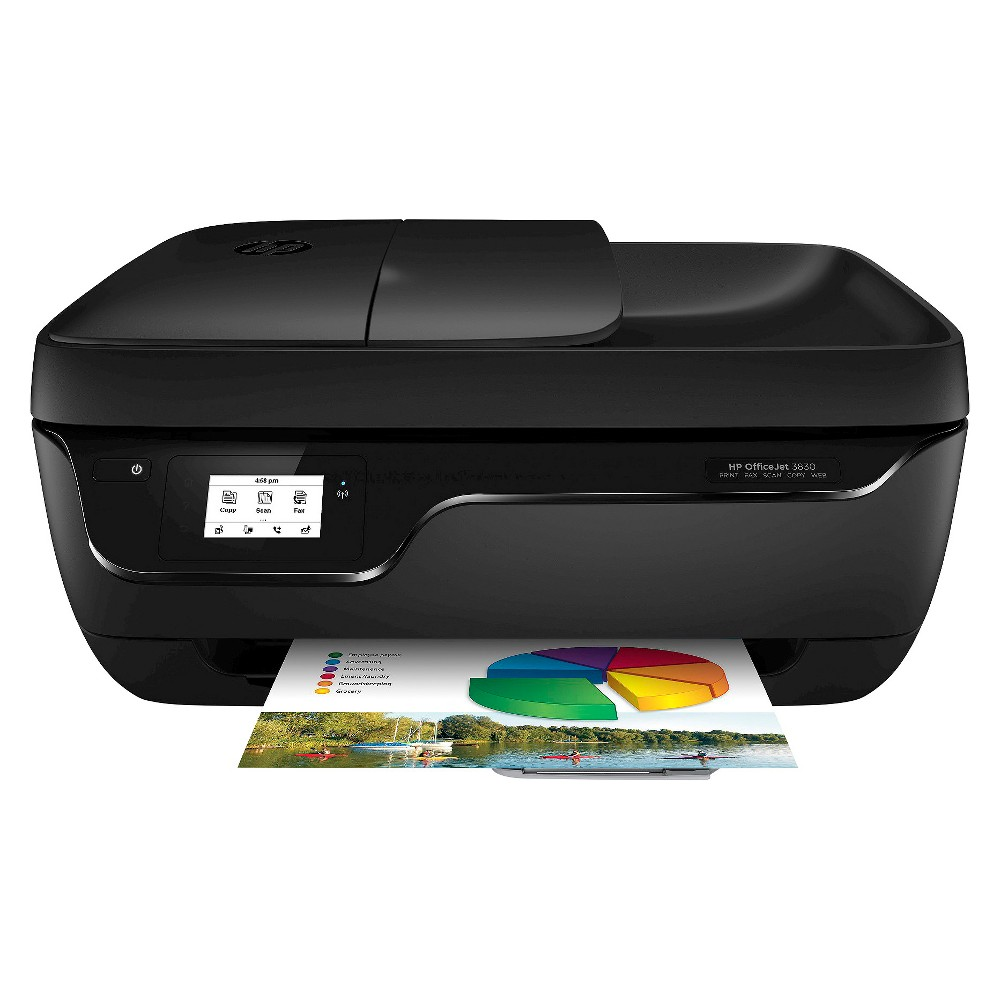 HP Printer OfficeJet 3830 Black K7V40A_B1H Start printing and get connected quickly with easy setup from your smartphone, tablet, or pc-and easily print without accessing a network. Take charge of your tasks with a 2.2-inch display and the automatic document feeder. Save your space with a compact all-in-one designed to fit on your life. Color: Black.