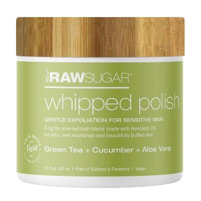 Raw Sugar Sensitive Skin Whipped Polish Green Tea + Cucumber + Aloe Vera - 15oz