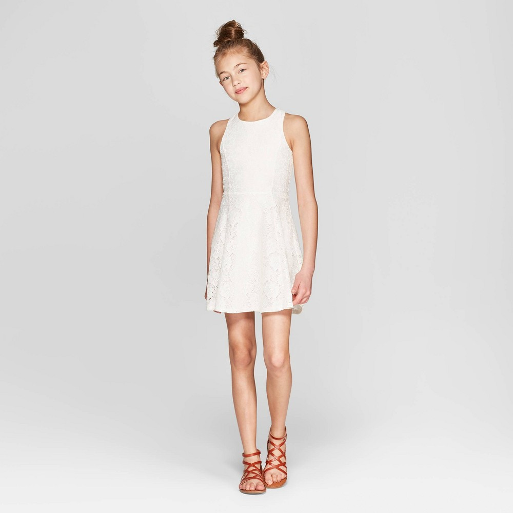 Girls' High Neck Lace Tank Dress - art class Off White L, Beige