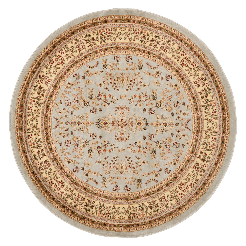 6' Floral Loomed Round Area Rug Gray/Beige - Safavieh