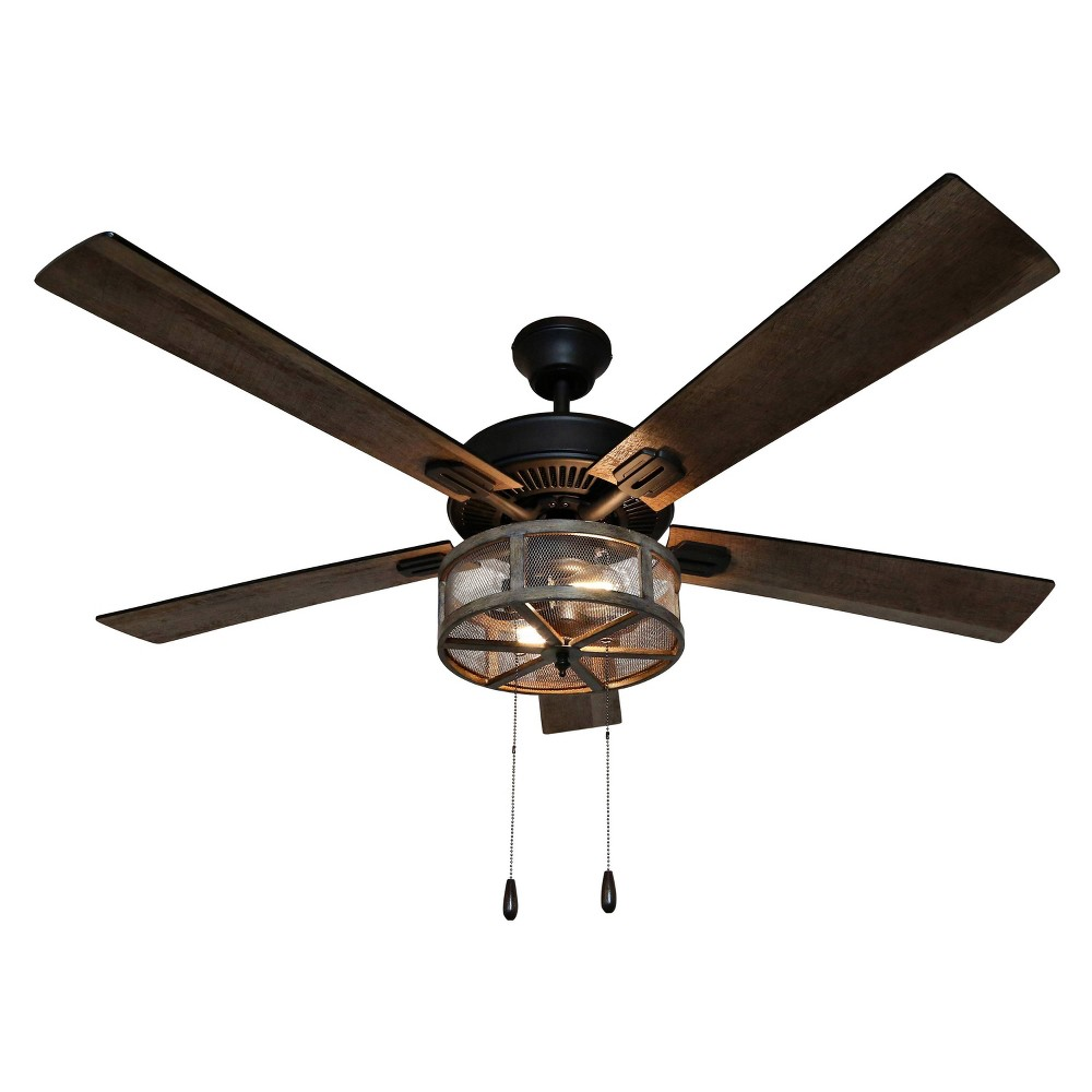 52 34 Led 5 Blade Dixsie Woodgrain Caged Farmhouse Lighted Ceiling Fan River Of Goods