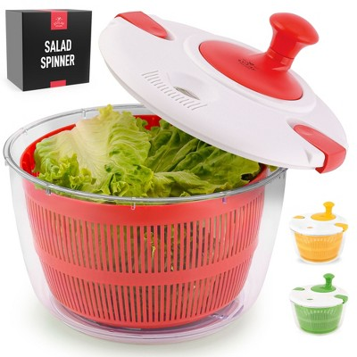 Zulay Kitchen Salad Spinner Large 5L Capacity - Manual Lettuce Spinner With Secure Lid Lock & Rotary Handle - Red