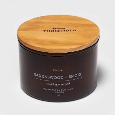 14oz Lidded Amber Glass Jar Crackling Wooden 3-Wick Sandalwood and Smoke Candle - Threshold™