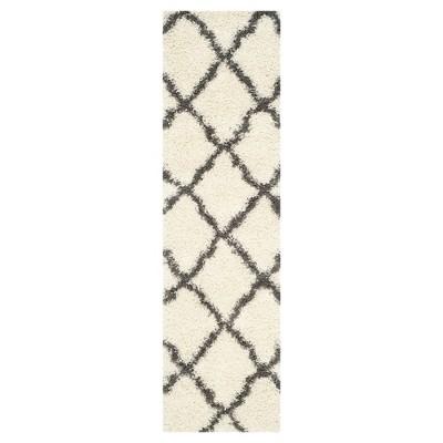 Ivory/Dark Gray Geometric Shag/Flokati Loomed Runner - (2'3 X8' Runner)- Safavieh®