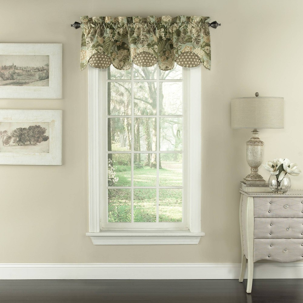 "Image of ""16""""x60"""" Garden Glory Window Valance Green - Waverly"""