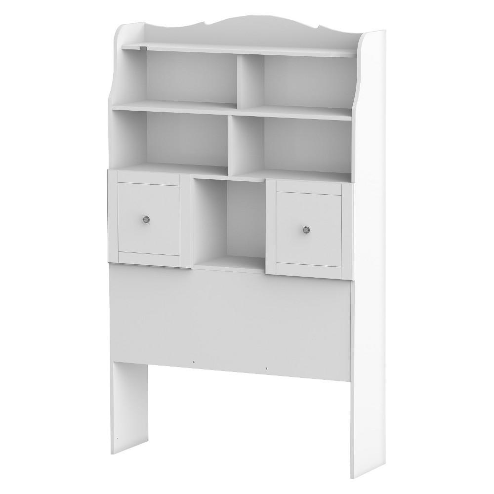Pixel Tall Bookcase Headboard White (Twin) - Nexera