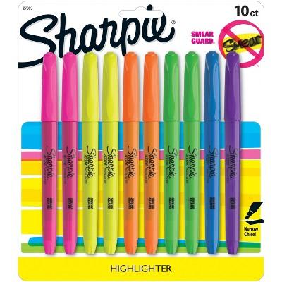 10pk Highlighters Pocket Smear Guard Chisel Tip Multicolor - Sharpie