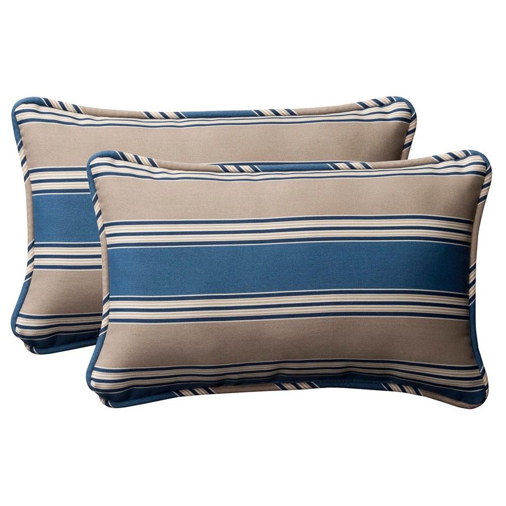 2 Piece Outdoor Toss Pillow Set Blue Beige Stripe 18