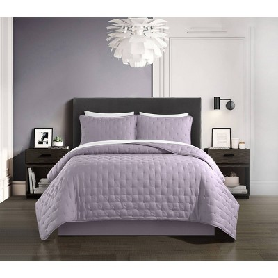 King 7pc Kamdan Bed In Bag Quilt Set Lavender - Chic Home Design