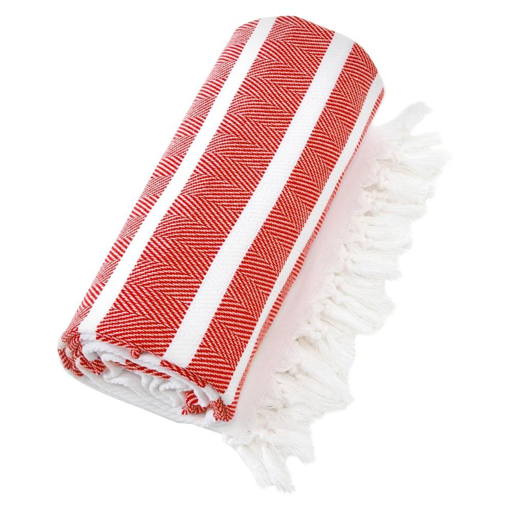 Image of Herringbone Pesetemal Beach Towel Red