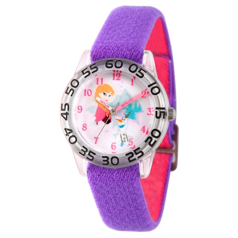Girls' Disney Frozen Olaf and Anna Clear Plastic Time Teacher Watch - Purple - image 1 of 1