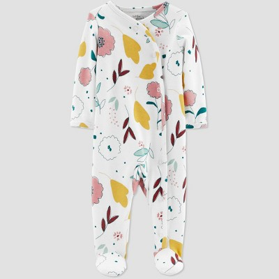 Little Planet Organic by Carters Baby Girls' Floral Sleep N' Play - Cream 3M