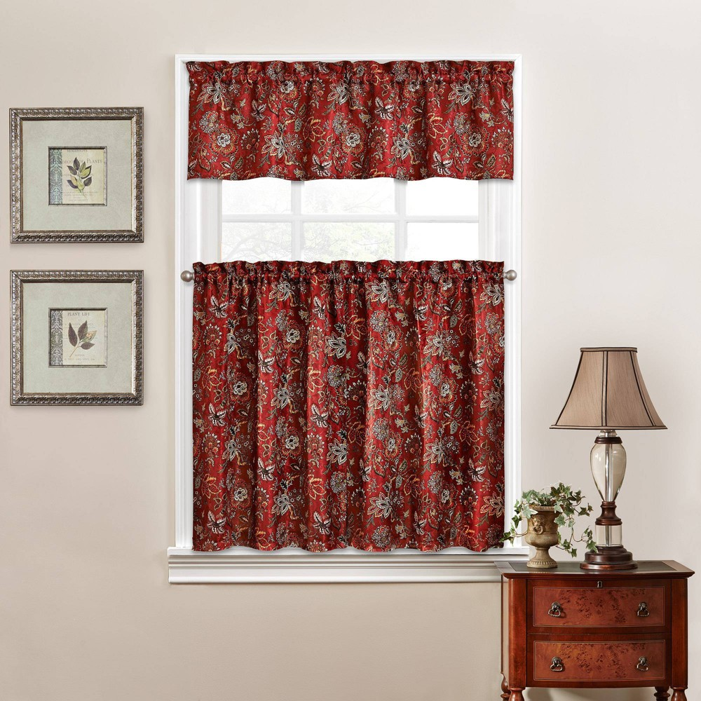 "Image of ""36""""x52"""" Window Curtain Tiers Red - Traditions by Waverly"""