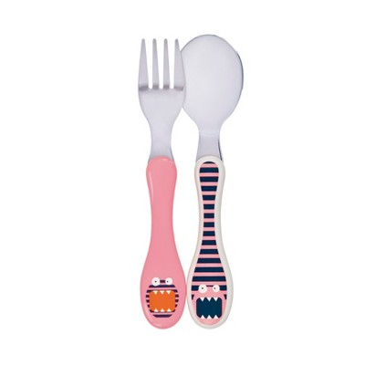 Lassig Little Monsters Mad Mabel Cutlery - Pink