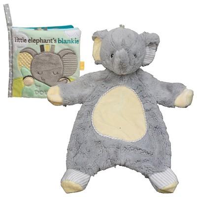Douglas Cuddle Toys Sweet Little Gray Elephant Sshlumpie and Crinkle Cloth Book Set