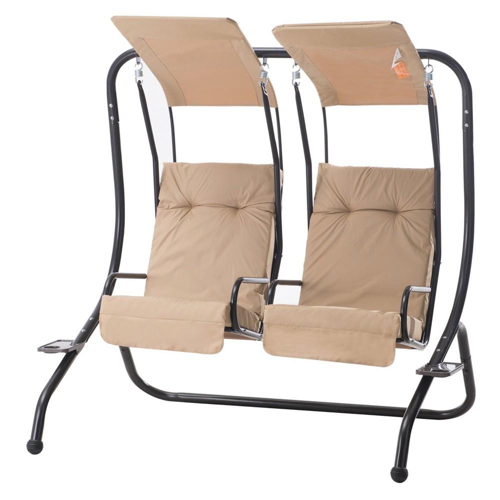 Slidell 2-Seat Swing Black/Tan - Sunjoy