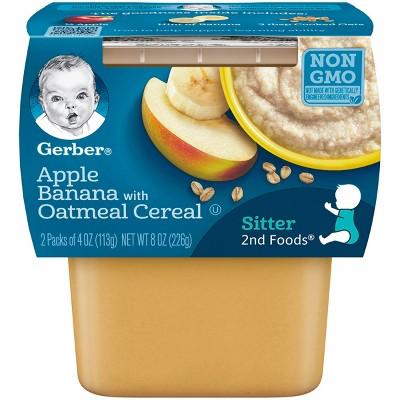 Gerber 2nd Foods Apple Banana with Oatmeal Baby Food - 4oz Tubs (2ct)