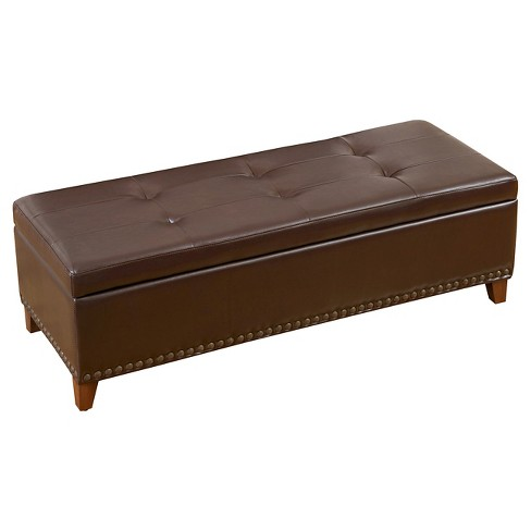 Gavin Bonded Leather Storage Ottoman Brown Christopher Knight Home