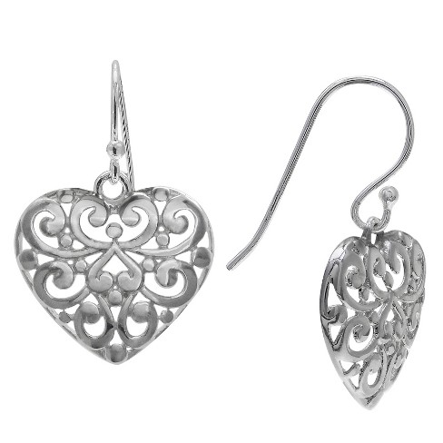 Women's Filigree Heart Drop Earrings in Sterling Silver - Gray (29mm) - image 1 of 1