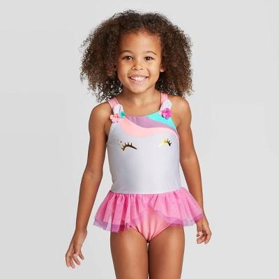 Toddler Girls' Unicorn Face Tutu One Piece Swimsuit - Cat & Jack™ White/Pink 18M