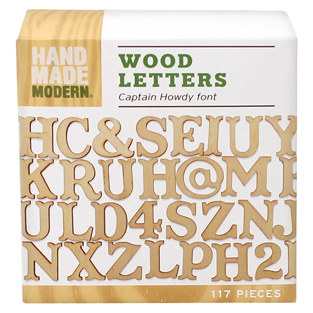 Hand Made Modern- Wooden Letters - Captain Howdy, Natural