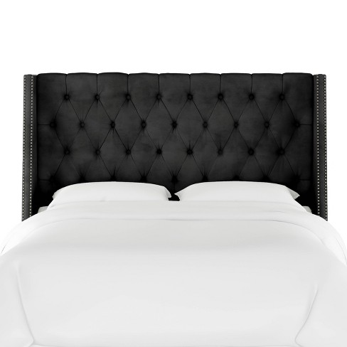 Queen Diamond Tufted Wingback Headboard, Upholstered Bed Frame Queen Black