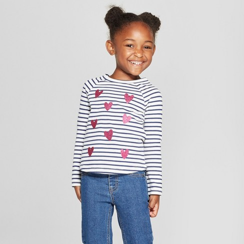 Toddler Girls' Striped Hearts Long Sleeve T-Shirt - Cat & Jack™ Cream/Navy - image 1 of 3