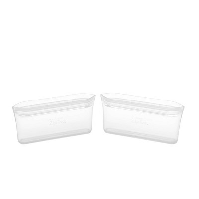Zip Top Reusable 100% Platinum Silicone Container - Snack Bag Set of 2 - Clear