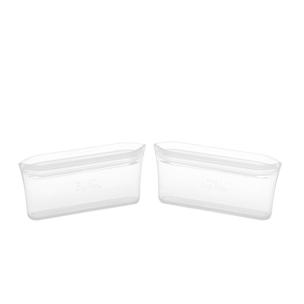 Image of Zip Top Reusable 100% Platinum Silicone Container - Snack Bag Set of 2 - Clear