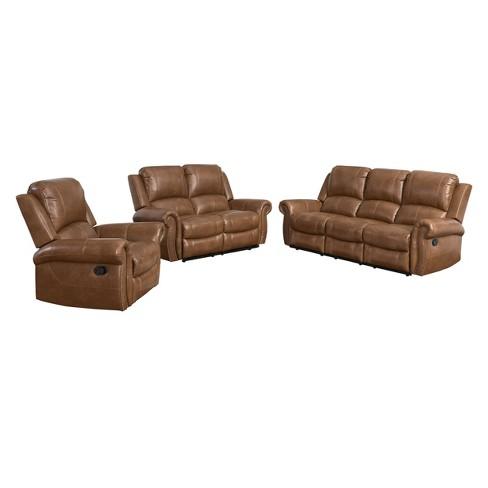 3pc Lorenzo Top Grain Leather Reclining Sofa Set Cognac - Abbyson Living