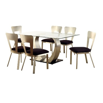 7pc LangtonDining Set w/Rectangular Back Chairs Silver/Black - HOMES: Inside + Out