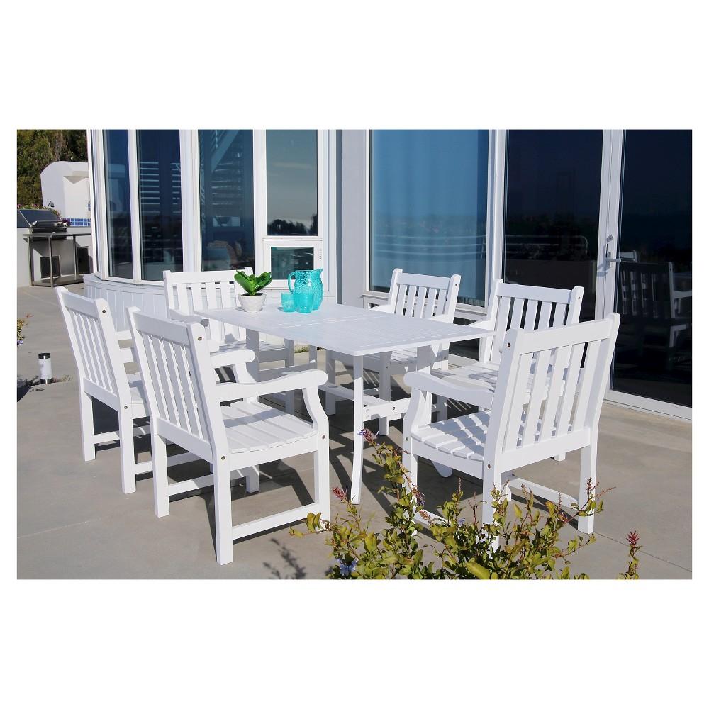 Bradley 7pc Rectangle Wood Patio Dining Set - White - Vifah