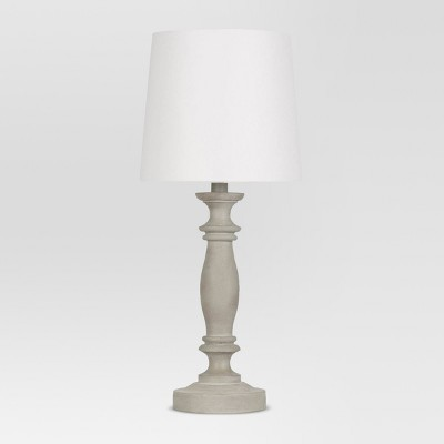 Turned Faux Wood Table Lamp Gray - Threshold™