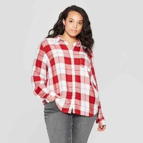 Women\'s Plus Size Plaid Long Sleeve Collared Shirt - Universal ...