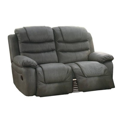 Breathable Leather Solid Pine Plywood Reclining Loveseat Gray - Benzara