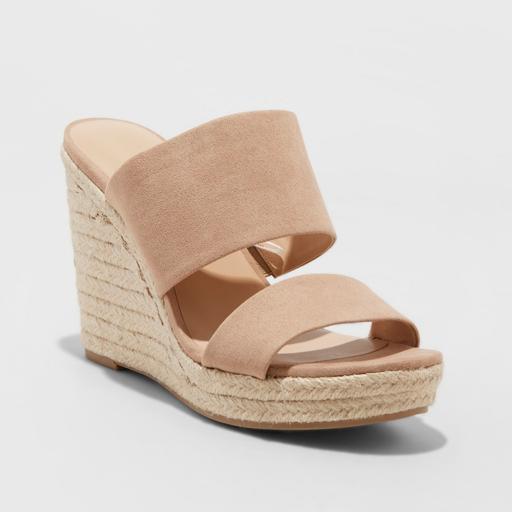 Women's Adelina Two Band Espadrille Slide Sandals - A New Day Taupe (Brown) 5.5