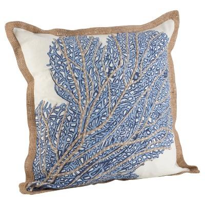 Navy Blue Sea Fan Coral Print Cotton Throw Pillow (20 )- Saro Lifestyle®