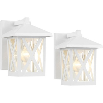 """John Timberland Country Cottage Outdoor Wall Light Fixtures Set of 2 White 7 1/2"""" Lantern Clear Glass Exterior House Porch Patio"""