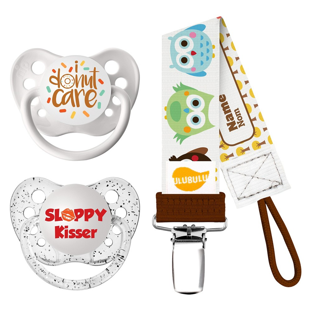 Image of Ulubulu 2 pk Pacifiers I Donut Care & Sloppy Kisser with 1 pk Owl Pacifier Clip (0-6 Months)