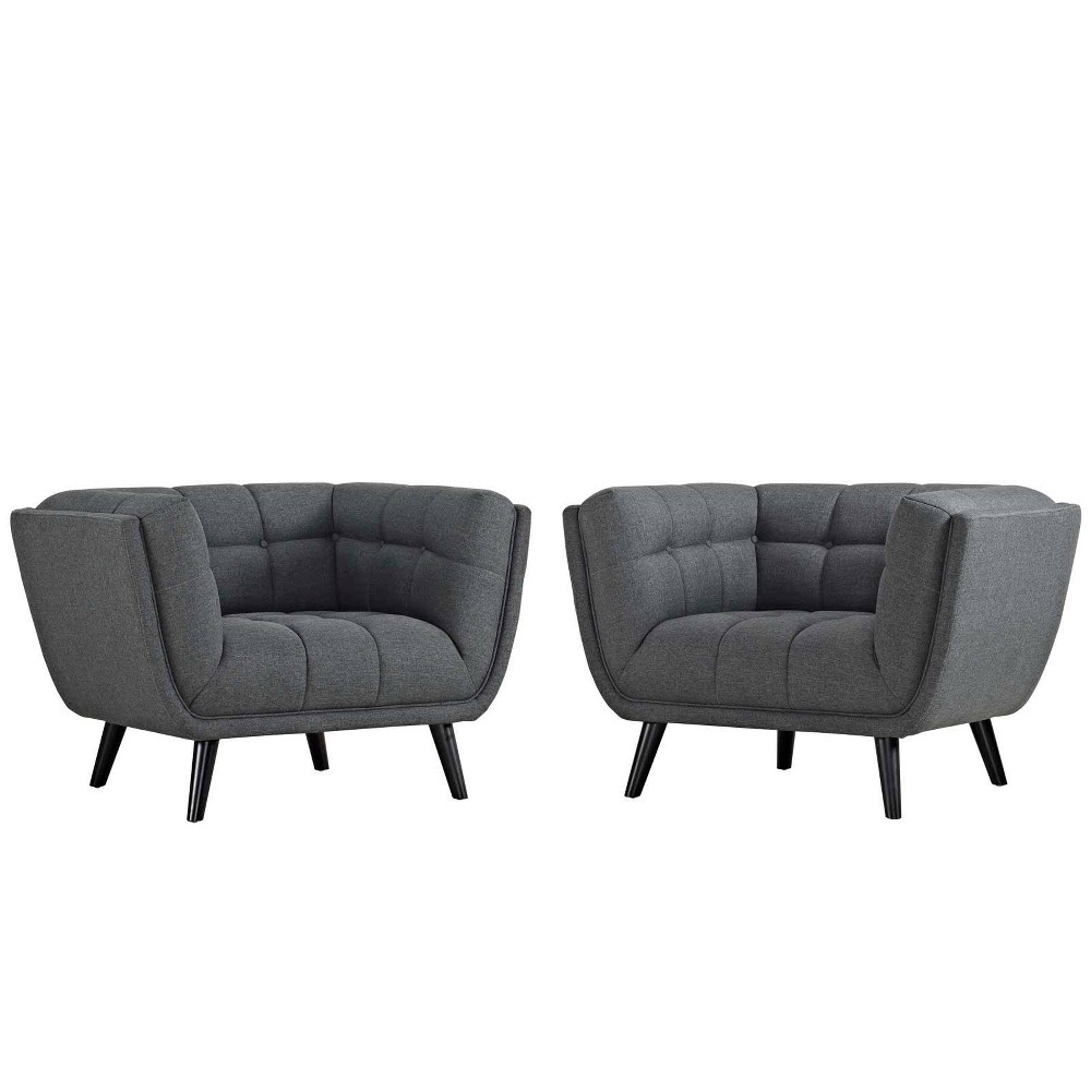 Image of 2pc Bestow Upholstered Fabric Armchair Set Gray - Modway