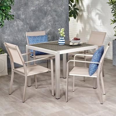 Boris 5pc Aluminum Modern Dining Set - Christopher Knight Home