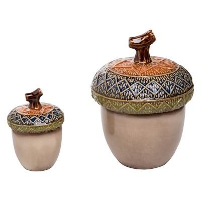 Transpac Ceramic 9 in. Multicolor Harvest Nested Acorns Set of 2