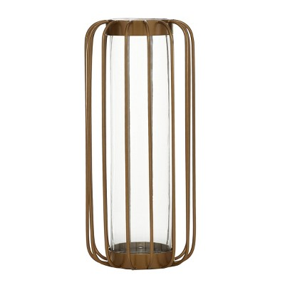 "16"" x 7"" Modern Glass with Metal Bars Vase Candle Holder Gold - Olivia & May"